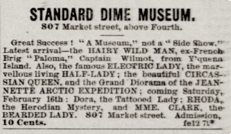 Newspaper advertisement: Standard Dime Museum,...