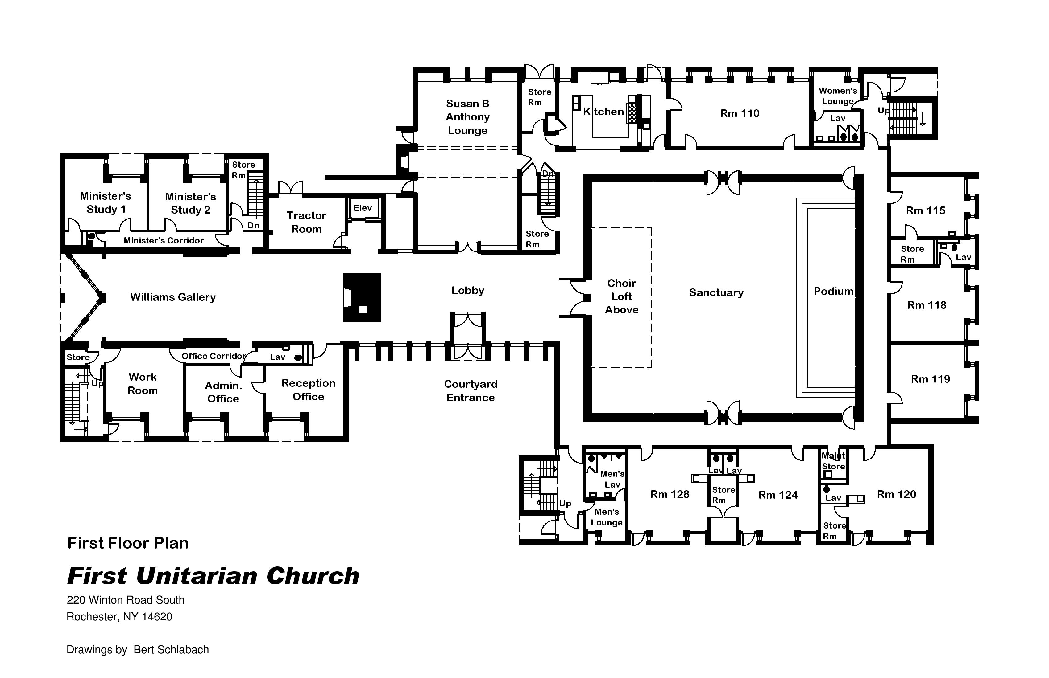 File first unitarian church of rochester ny 1st floor for Floor plans first