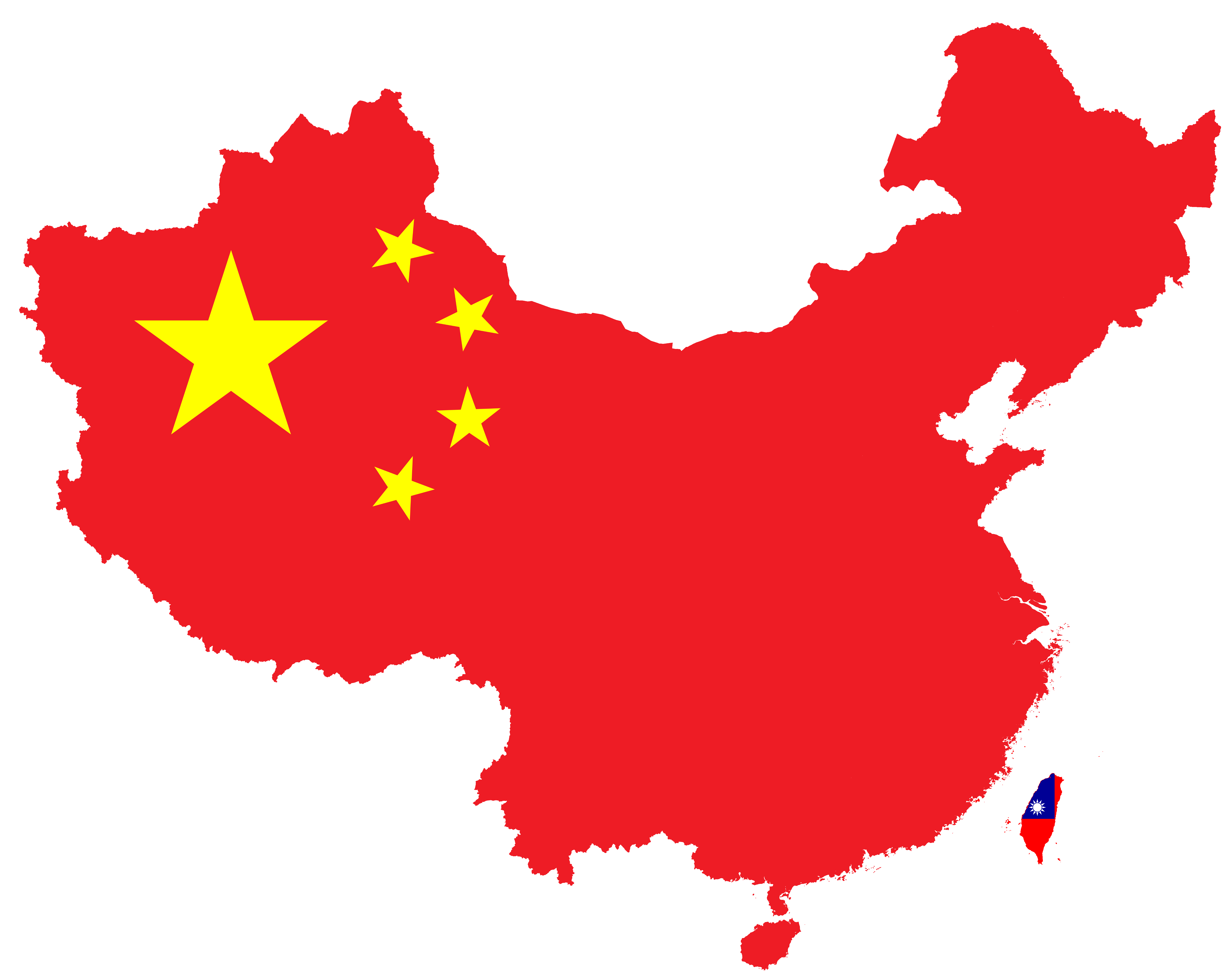 Map Of China And Taiwan File:Flag map of China & Taiwan.png   Wikimedia Commons