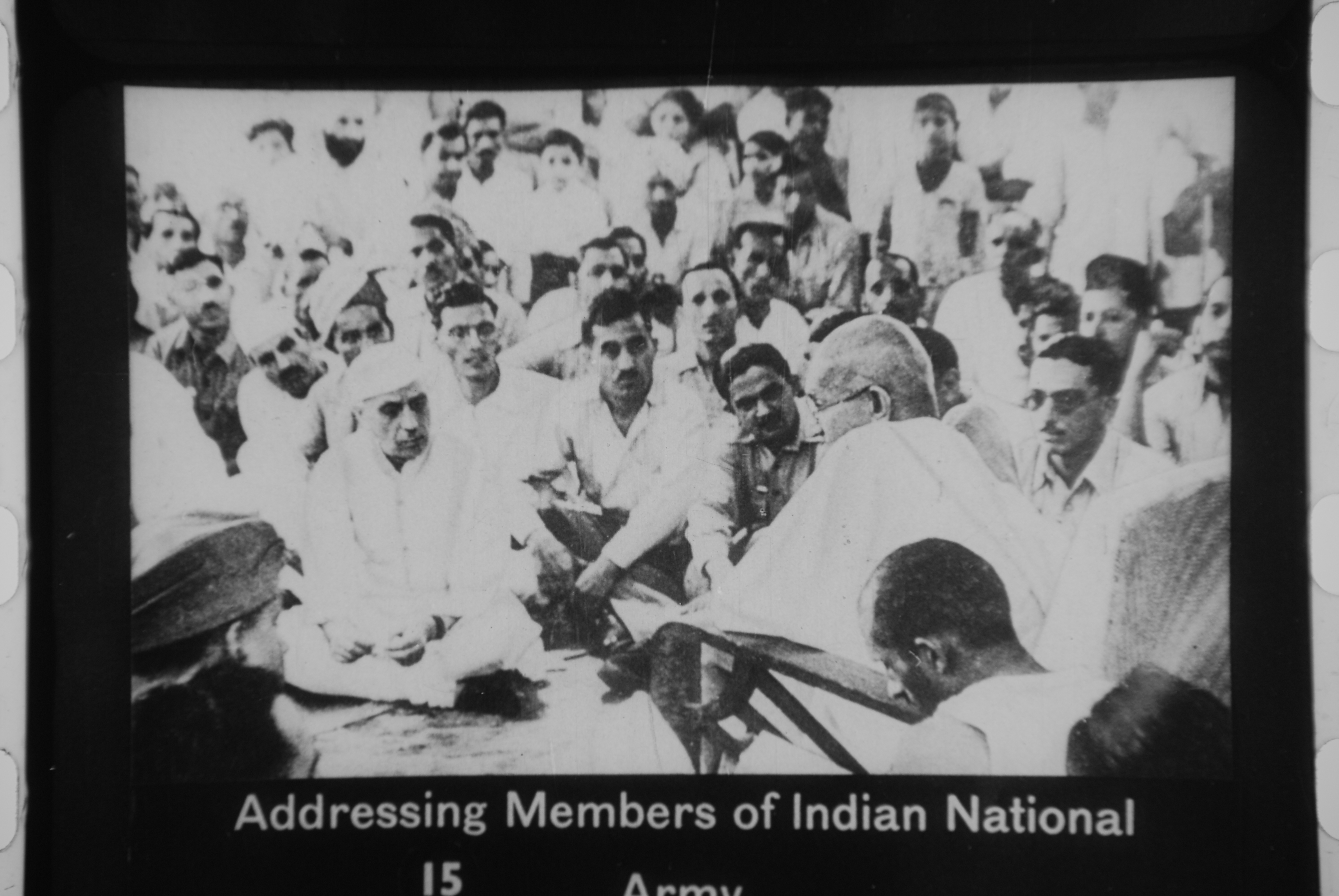 Description Gandhi addressing members of the Indian National Army.jpg