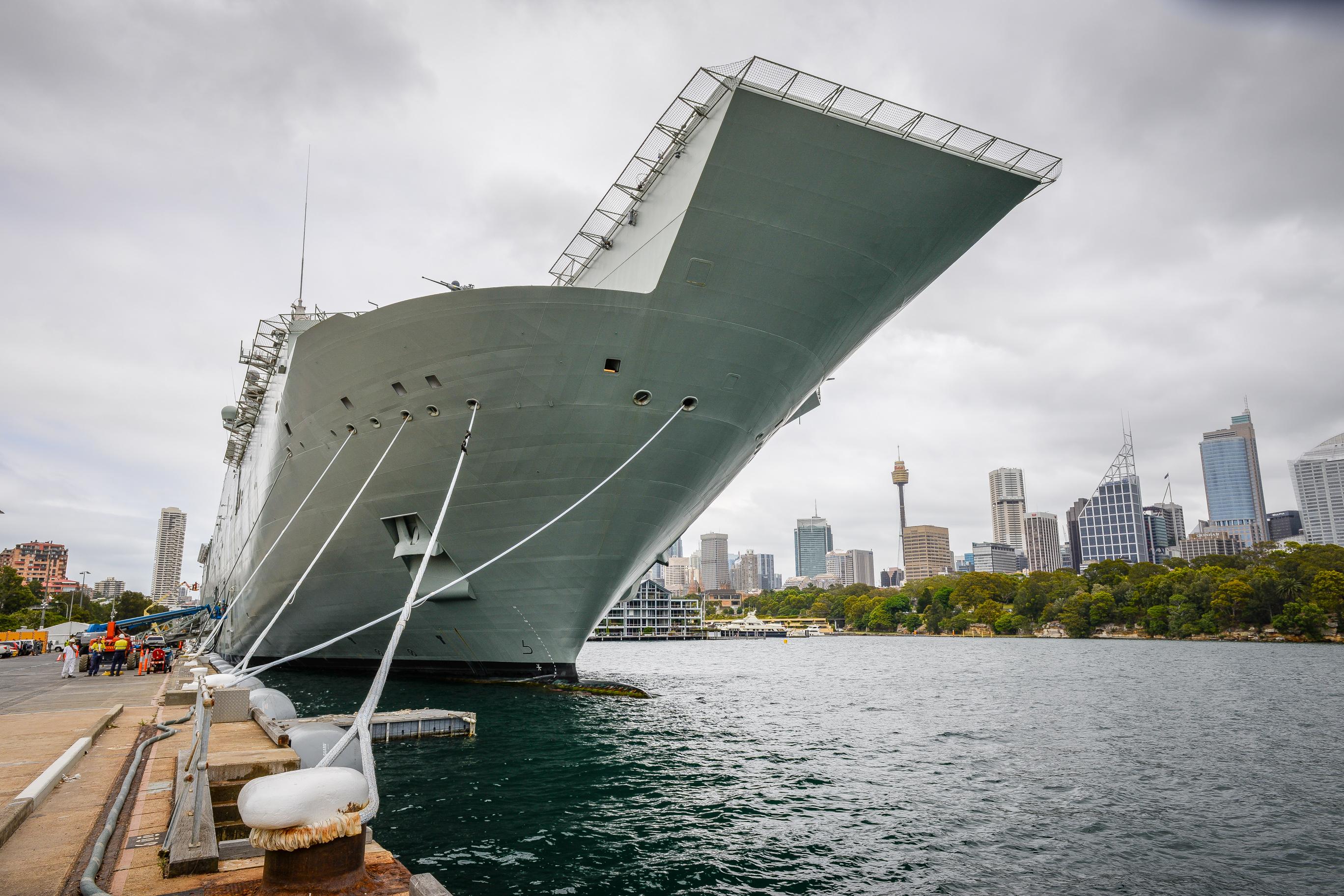 HMAS Canberra (LHD 02) berthed at Fleet Base East (8).jpg
