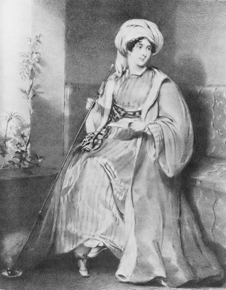 Lady Stanhope dressed in men's Turkish garb. Image via Wikicommons.