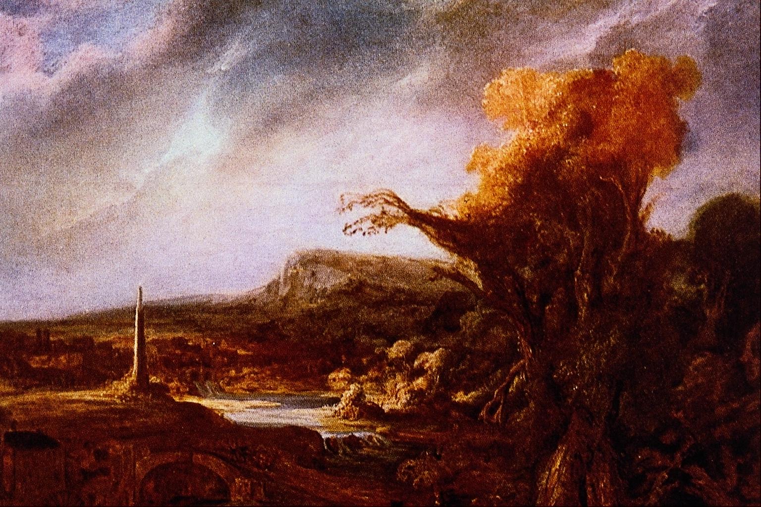 File:Landscape with Obelisk - Rembrandt Harmenszoon van ...