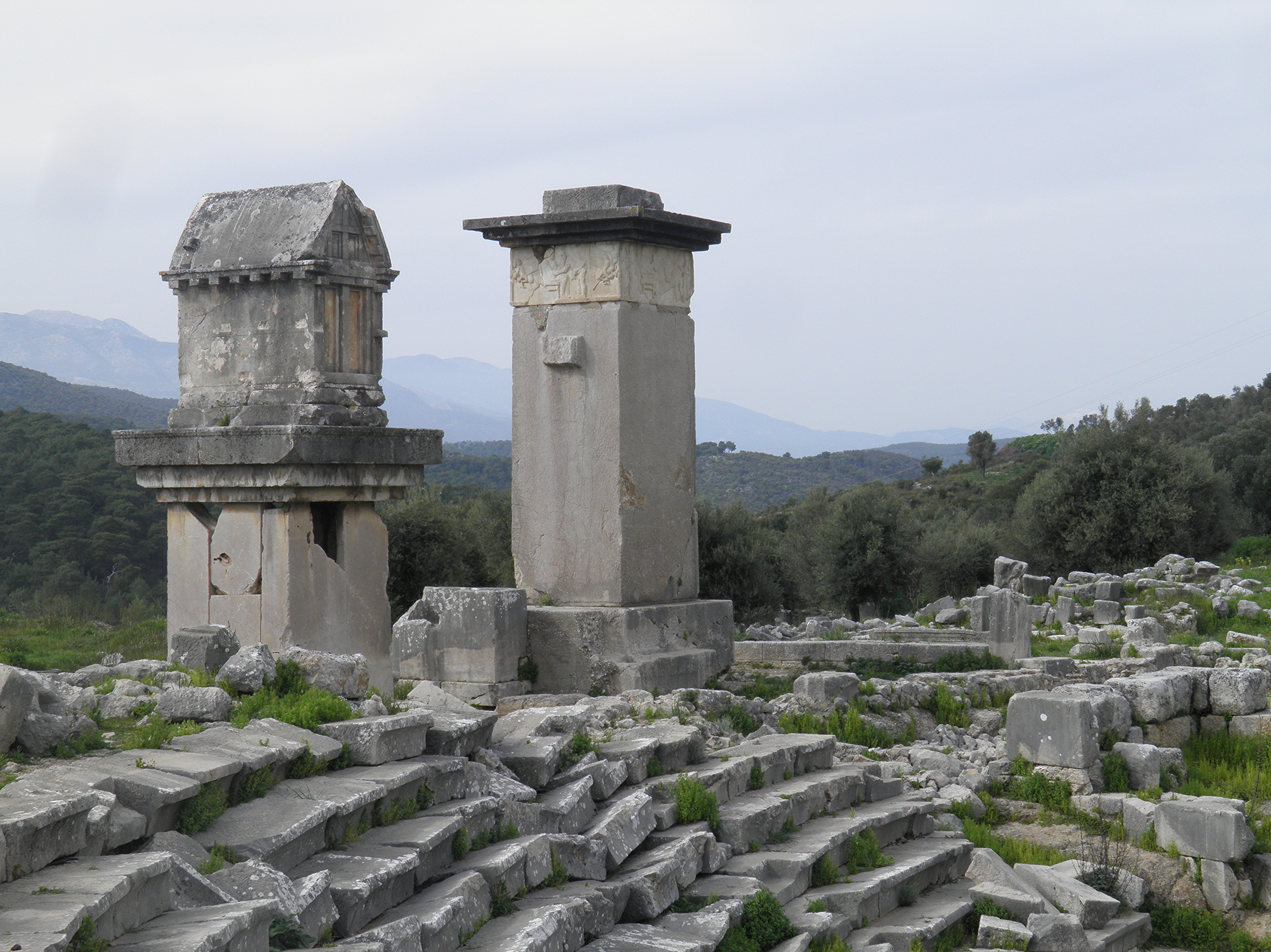 File:Lycian monumental tombs, the Harpy tomb and the pillared sarcophagus, Xanthos, Lycia, Turkey (8814489373).jpg - Wikimedia Commons