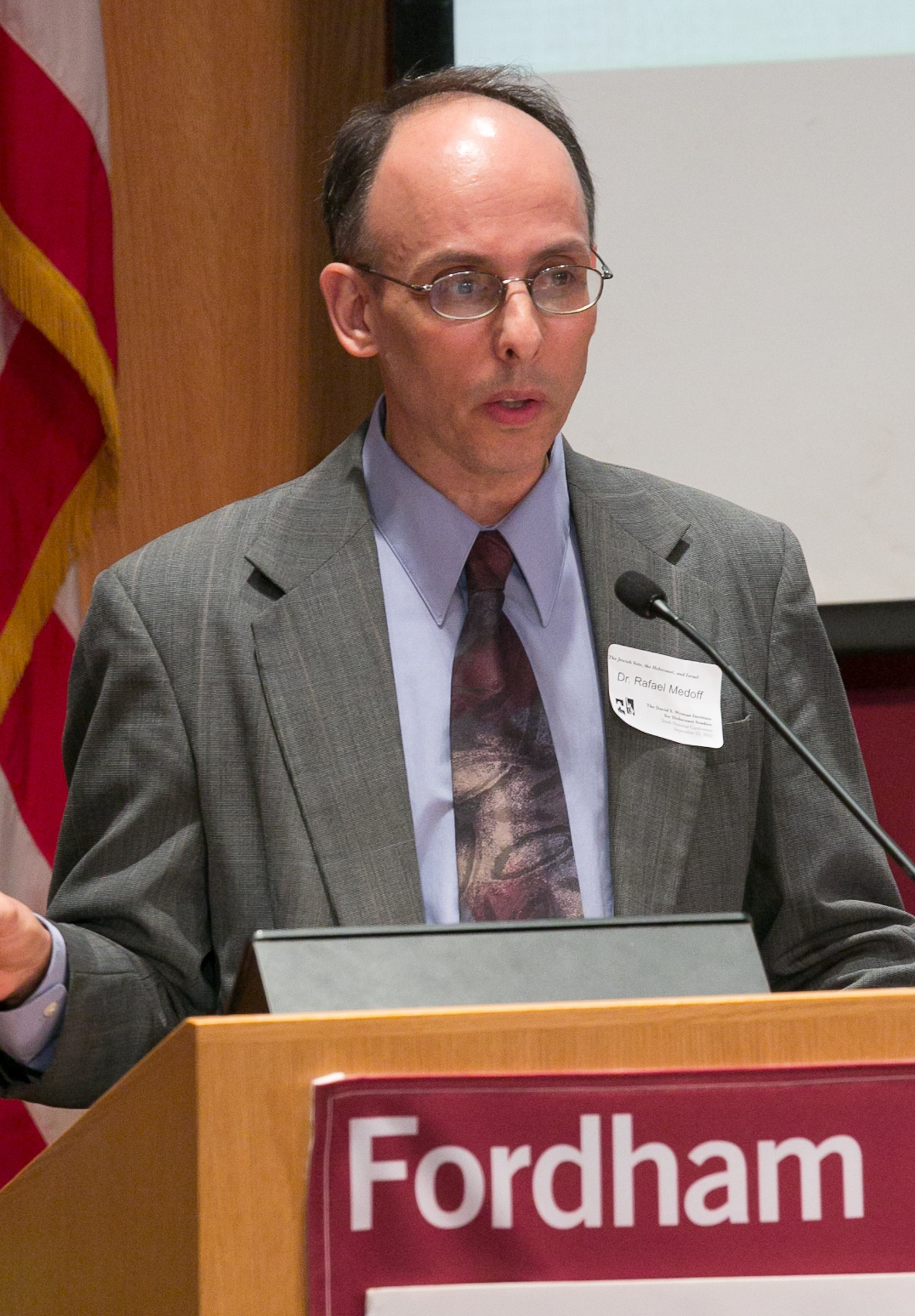 Rafael Medoff speaking at a conference at [[Fordham University Law School]] in New York City in October 2012