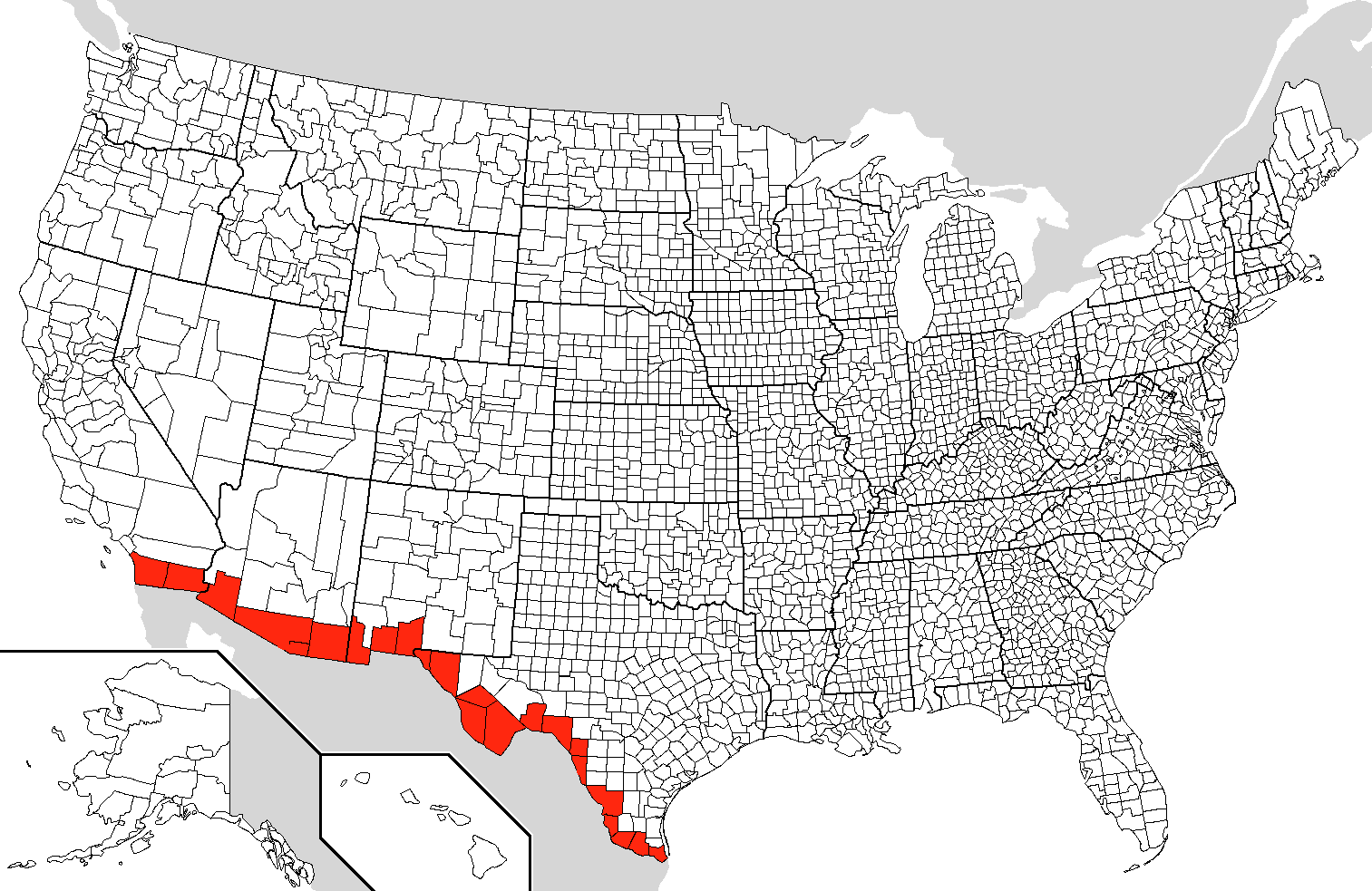 MexicoUnited States Border Wikiwand - Map of us border fence