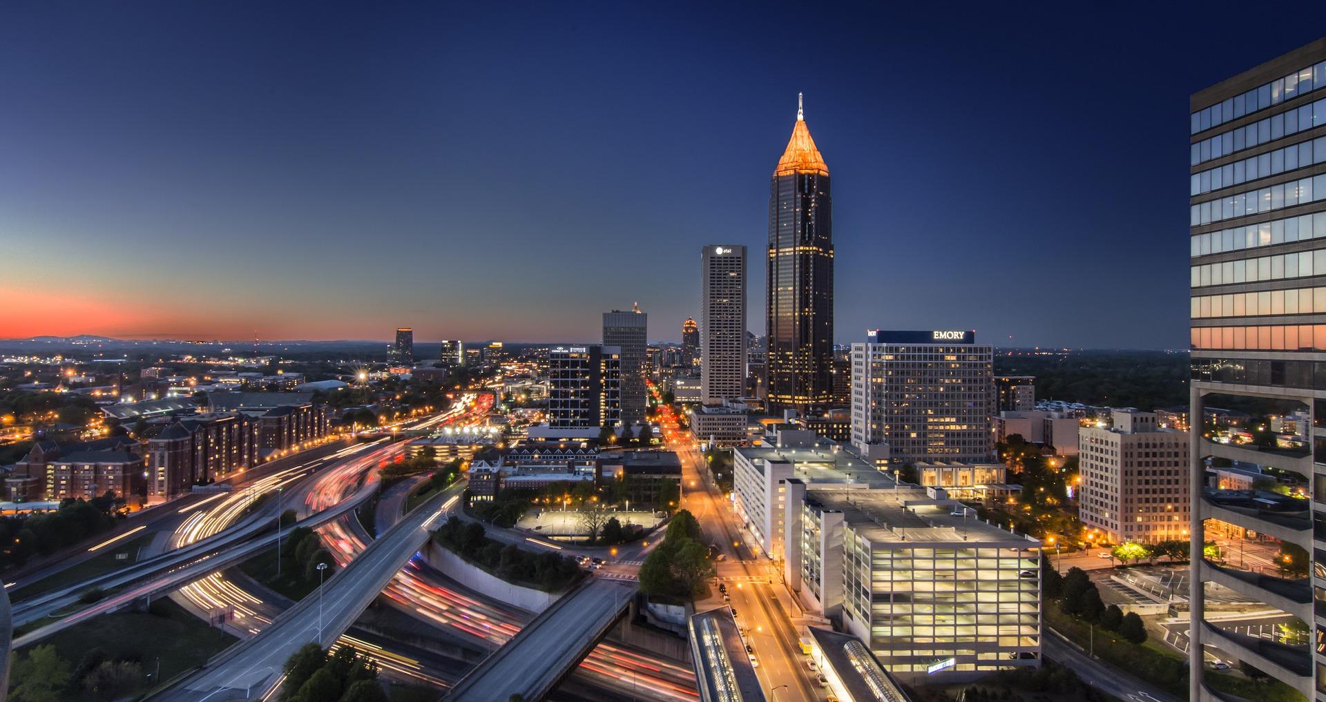 Image of Atlanta midtown skyline at night