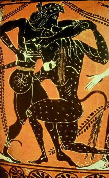 Teseo luchando contra el Minotauro, en el Laberinto de Knossos