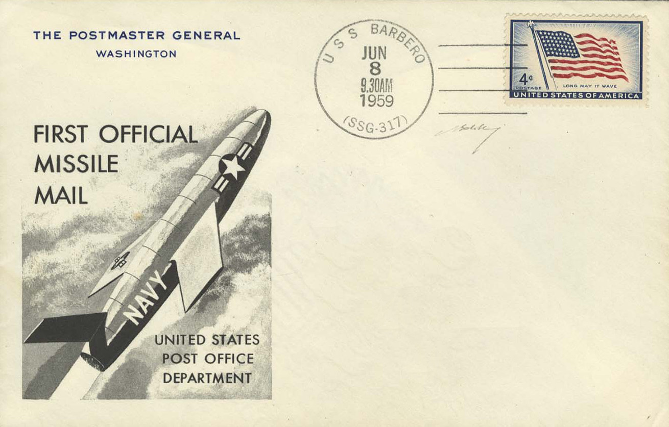 uss barbero first day commemorative cover the return address is the postmaster general