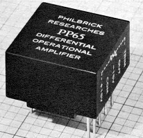 GAP/R's model PP65: a solid-state op-amp in a potted module (1962) Modular opamp.png