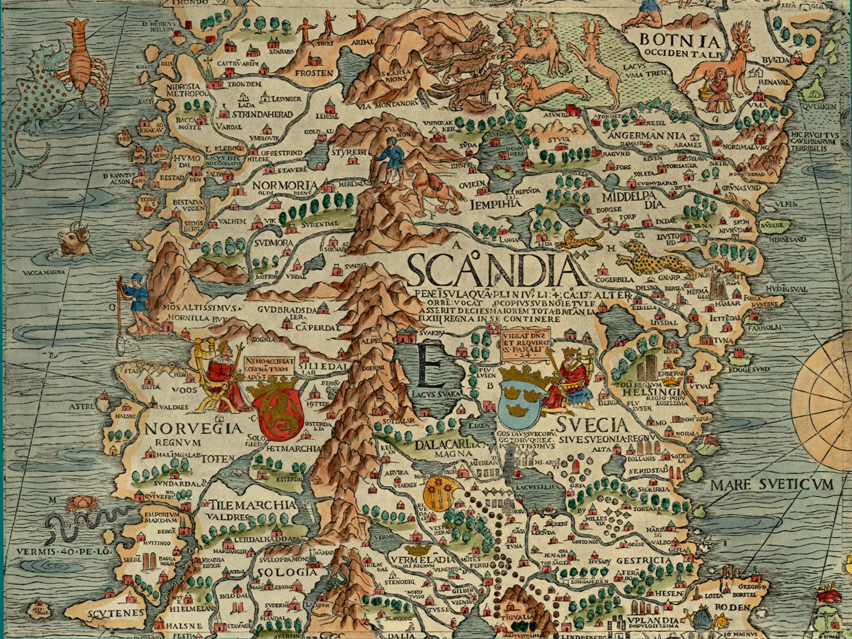 File:Olaus Magnus\' Map of Scandinavia 1539, Section E, Norway and ...