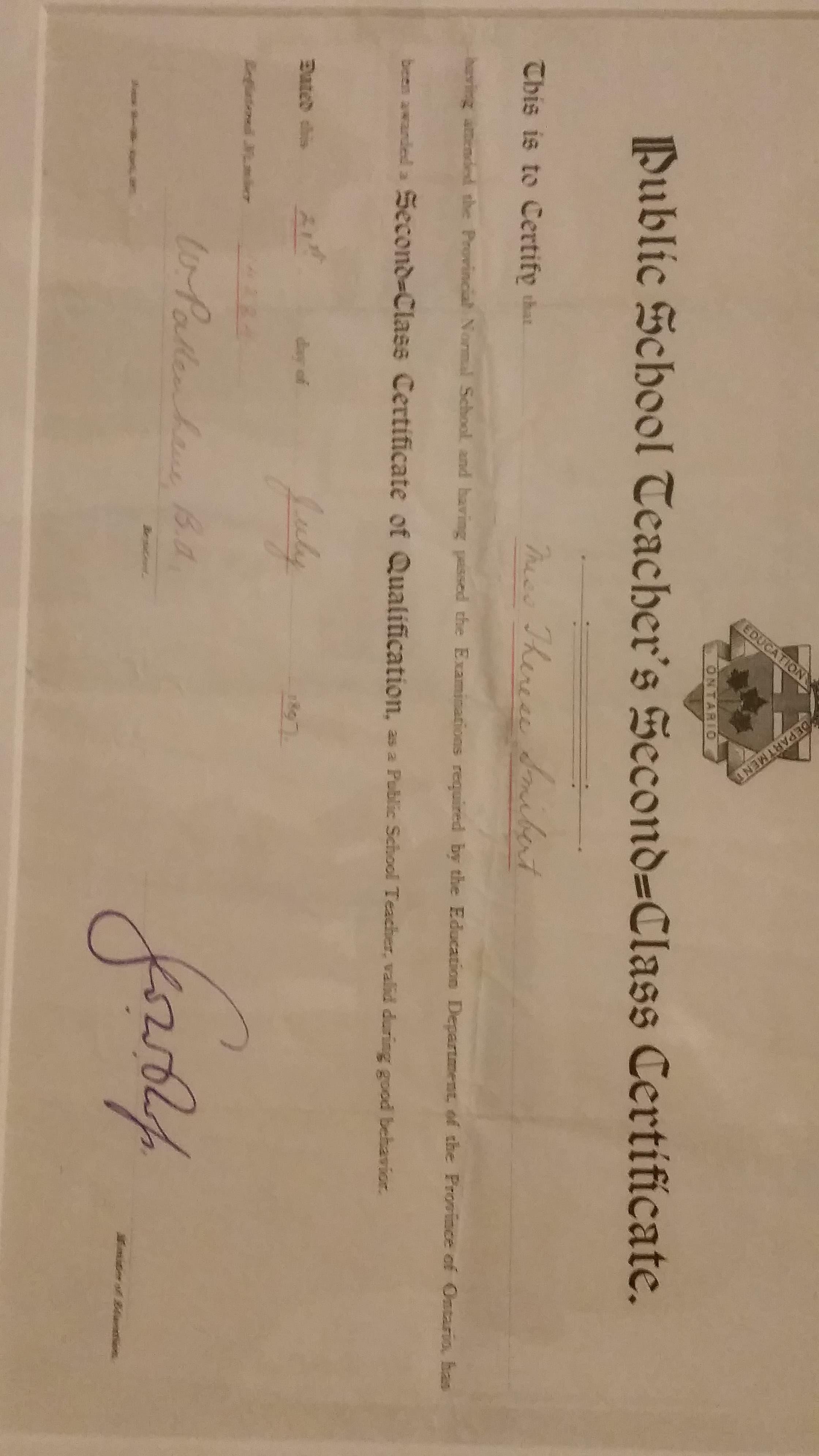 Fileontario Public School Teaching Certificateg Wikimedia Commons