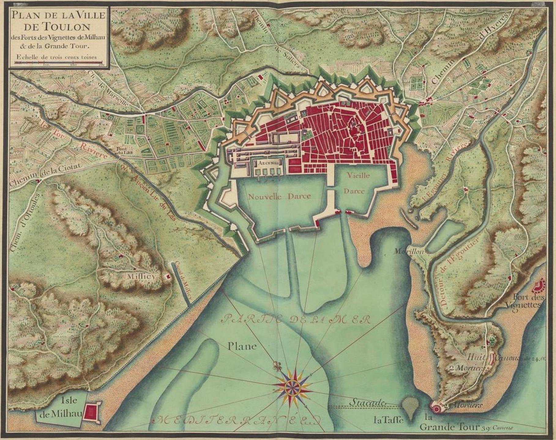 carte toulon et environs File:Plan de Toulon et de son arsenal en 1700.   Wikimedia Commons