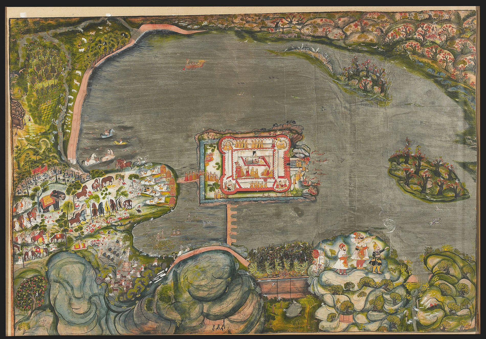 Aerial view painting by Bagta of Rawat Gokul Das at Singh Sagar, Devgarh.