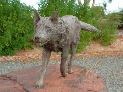 A gazdáját évekig kereső legendás Vörös Kutya szobra Dampierben