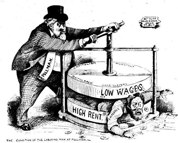 Political cartoon from the Chicago Labor newspaper from July 7, 1894 which shows the condition of the laboring man at the Pullman Company