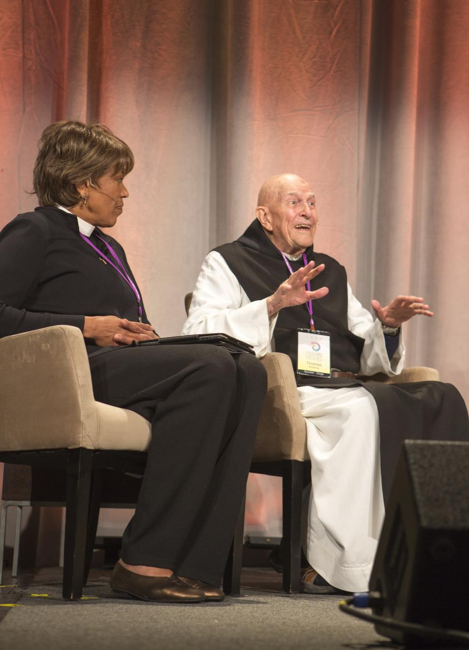 Thomas Keating (right) in discussion in Boston, 2012