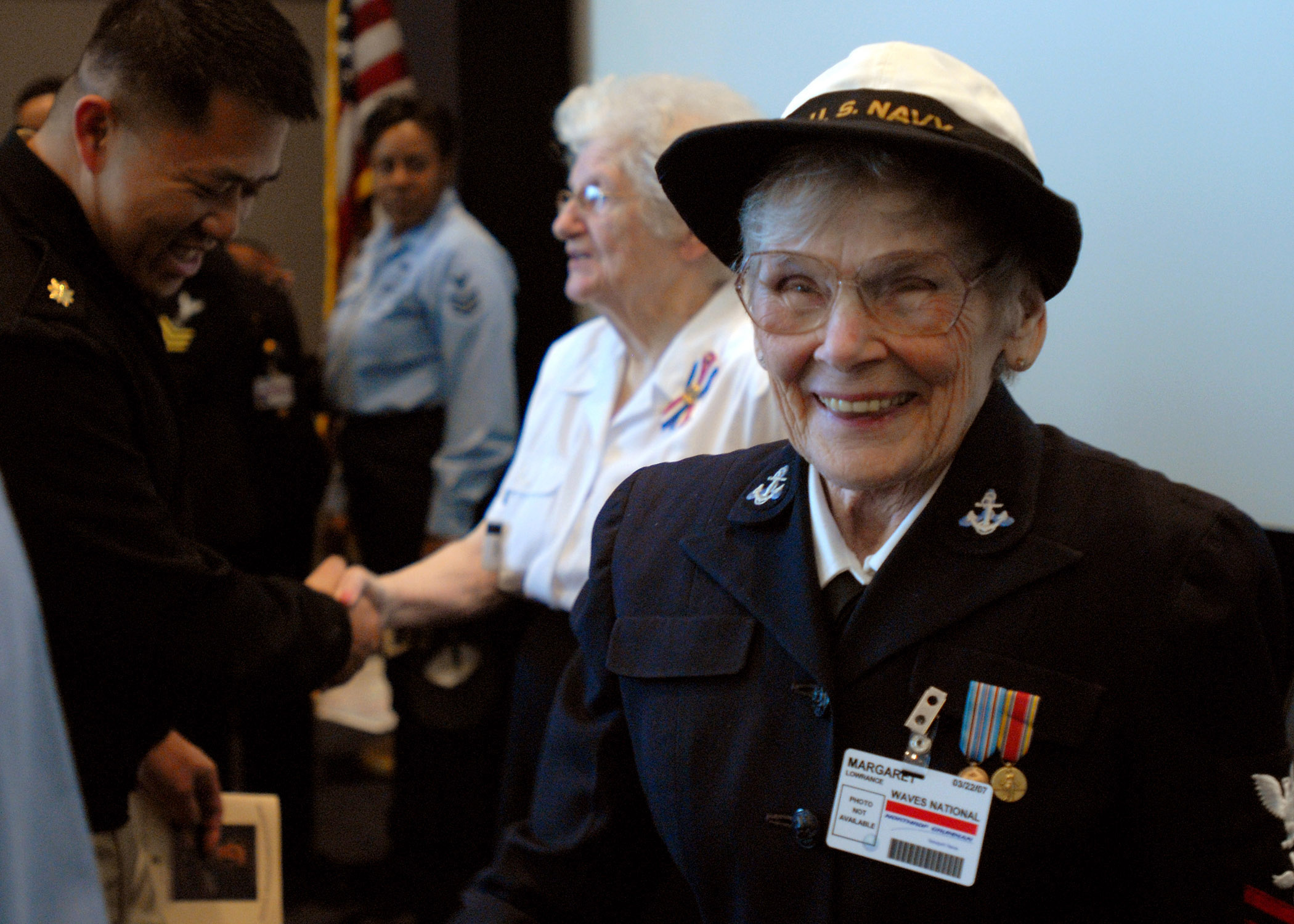 US Navy 070322-N-4528N-096 World War II veteran Margaret Maggie Lowrance greets Sailors assigned to PCU George H.W. Bush (CVN 77) after sharing her experiences as a woman in the Navy.jpg