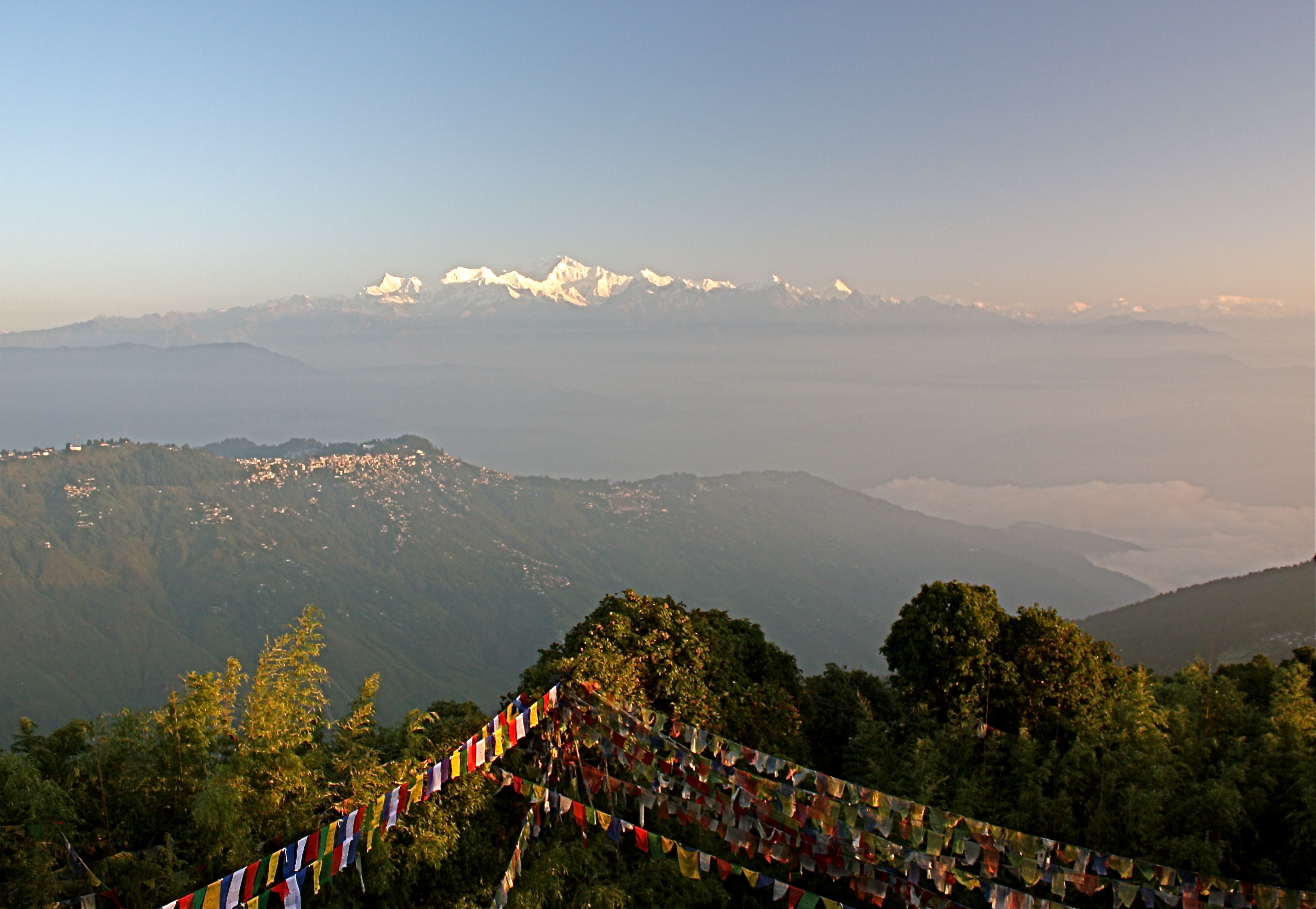 View of the Himalayas and the Kanchenjunga, fr...