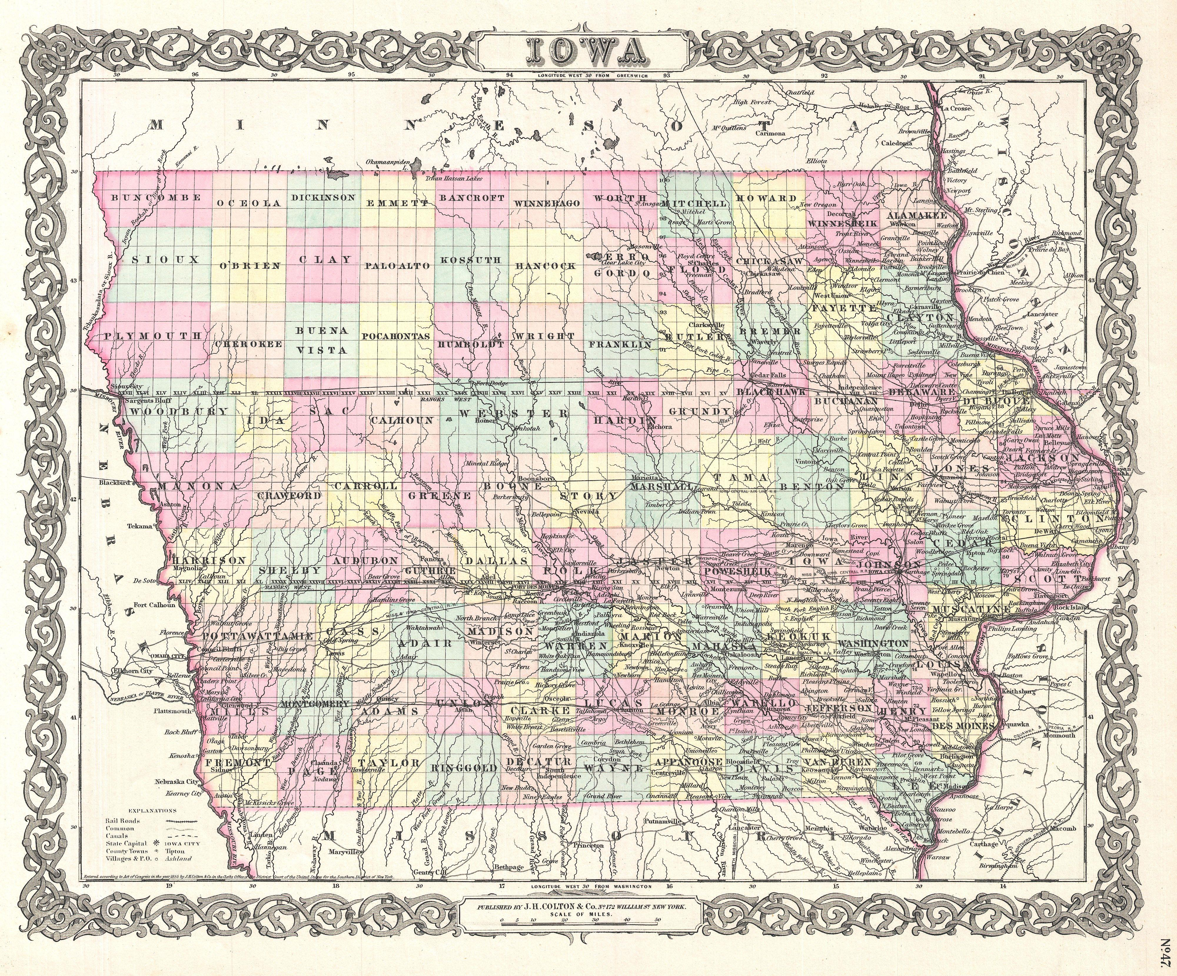 File1855 Colton Map Of Iowa  Geographicus  Iowacolton