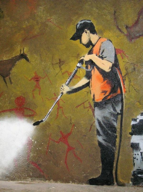 Foto eines Graffittis von Banksy, Details siehe Artikel unten, Quelle: WikiCommons