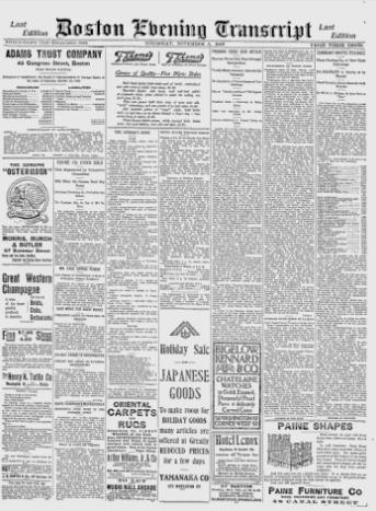 ''Boston Evening Transcript'', November 5, 1903