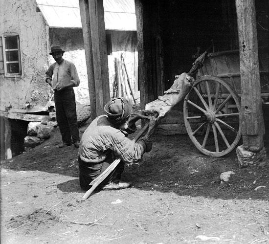 Ein rund abgezogenes Schaffell wird zum Trocknen vorbereitet, Bosnien etwa 1906