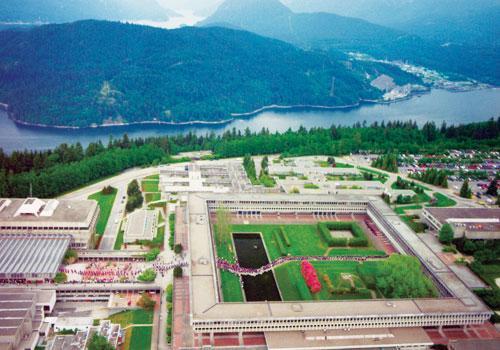 Aerial view of Simon Fraser University at Burnaby, British Columbia