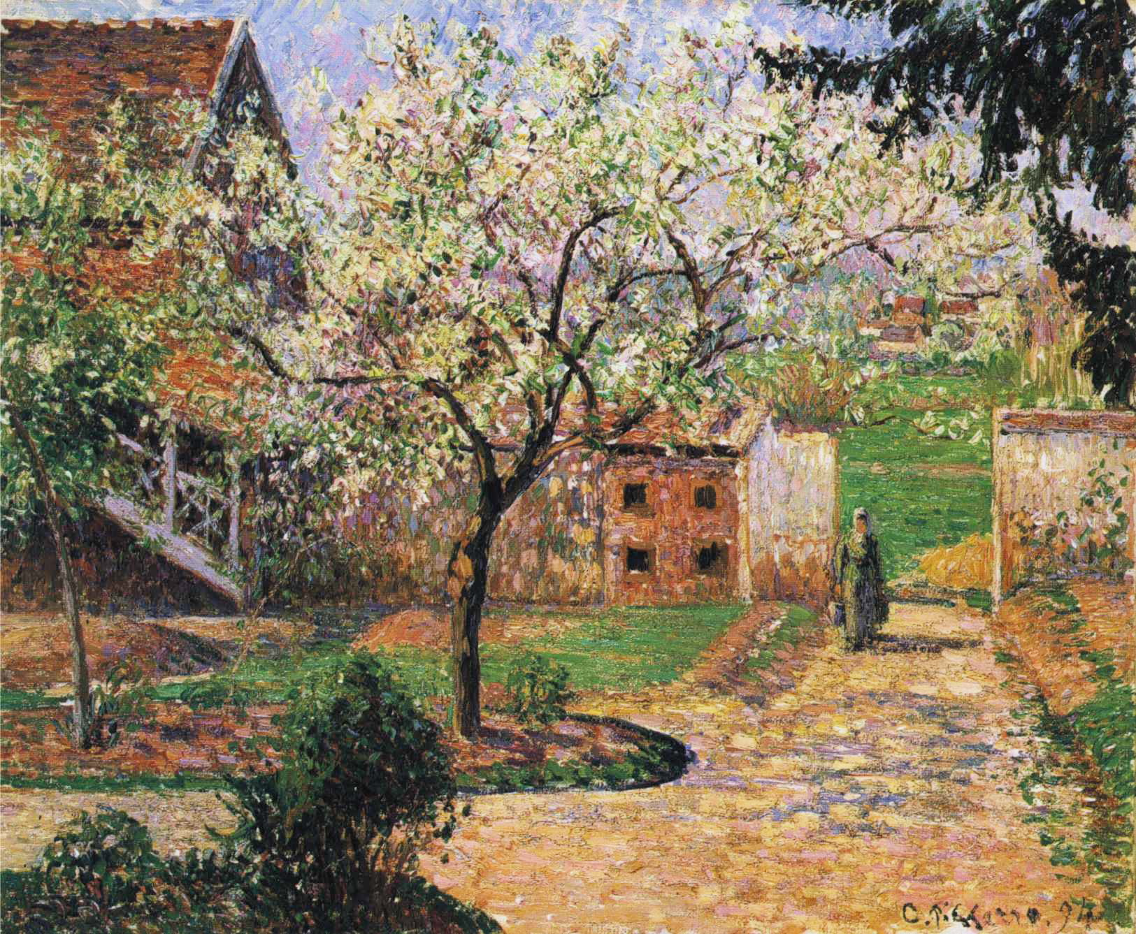 Camille Pissarro, Plum Trees in Blossom, Éragny, 1894, part of Gauguin and the Impressionists exhibition at the Royal Academy, London. Collection of Ordrupgaard Museum, Charlottenlund, Denmark.