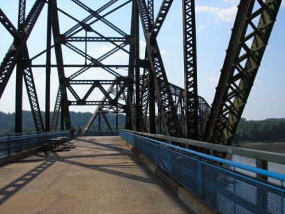 The Chain of Rocks Bridge across the Mississippi River was built to carry the growing traffic of US 66 around the city of St. Louis Chain of Rocks.jpg