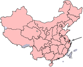 Shanghai marked on a map of China
