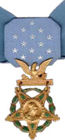 A light blue neck ribbon with a gold star shaped medallion hanging from it. The ribbon is similar in shape to a bowtie with 13 white stars in the center of the ribbon.