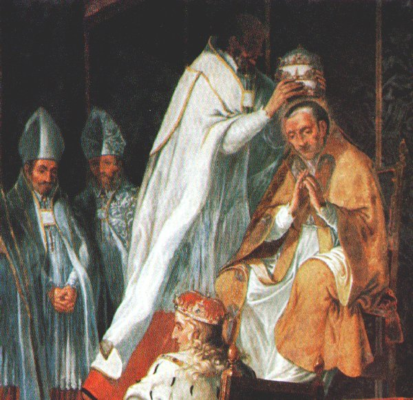 Image result for Pius VII is crowned Pope in Venice with a temporary papal tiara made of papier-mâché.