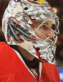 English: Corey Crawford, suited up for a Chica...