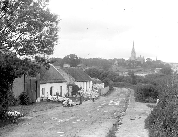 Letterkenny Ireland  city pictures gallery : Cottages in Letterkenny, Ireland ca 1900 Wikimedia Commons