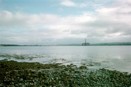 Looking from Invergordon toward oil drilling rigs in the Cromarty Firth.