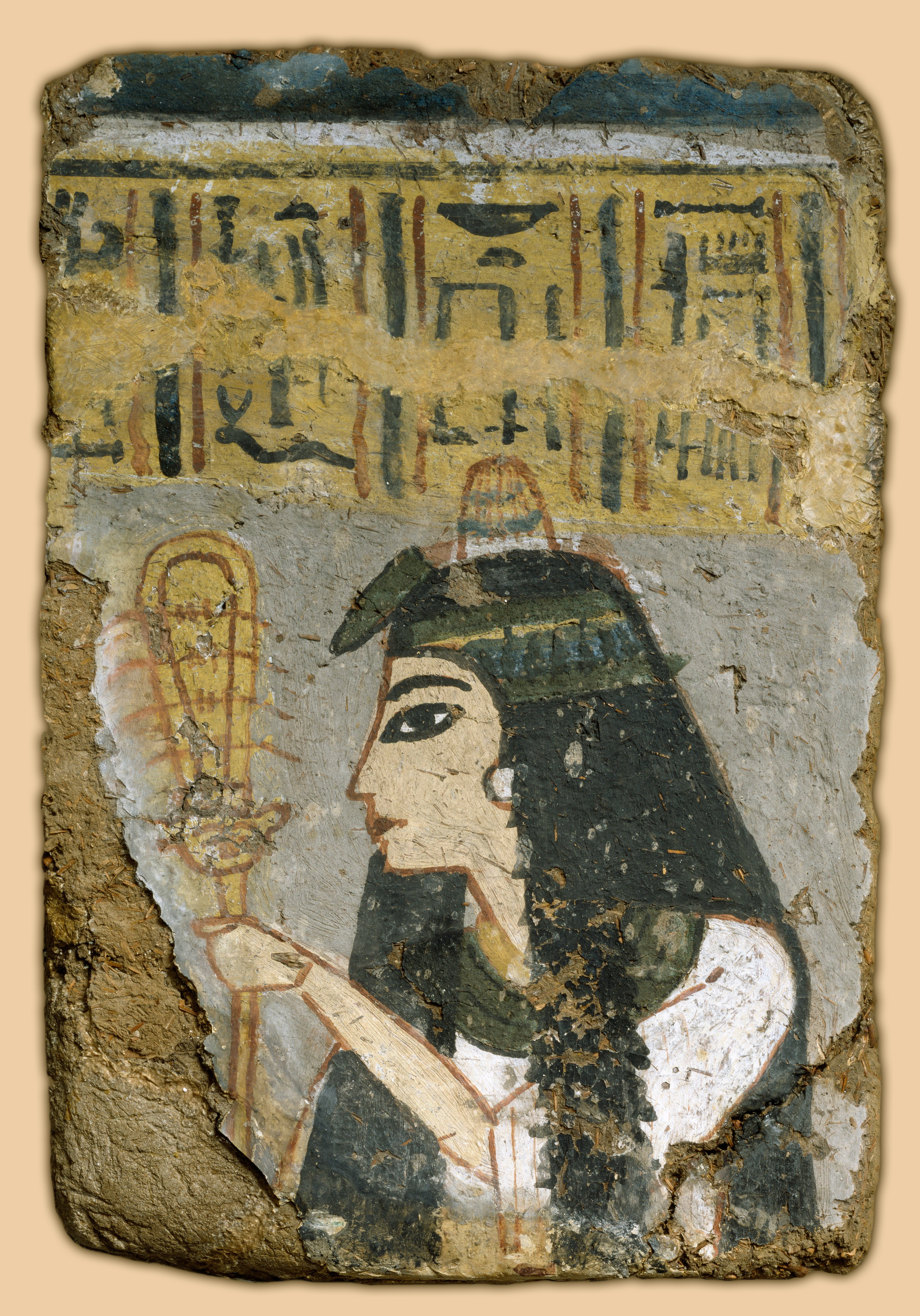 File egyptian wall painting woman holding a sistrum for Egyptian mural paintings