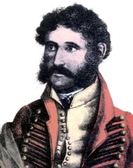 Head and shoulders of curly haired young man with sideburns and moustache, dressed in 19th century clothes.