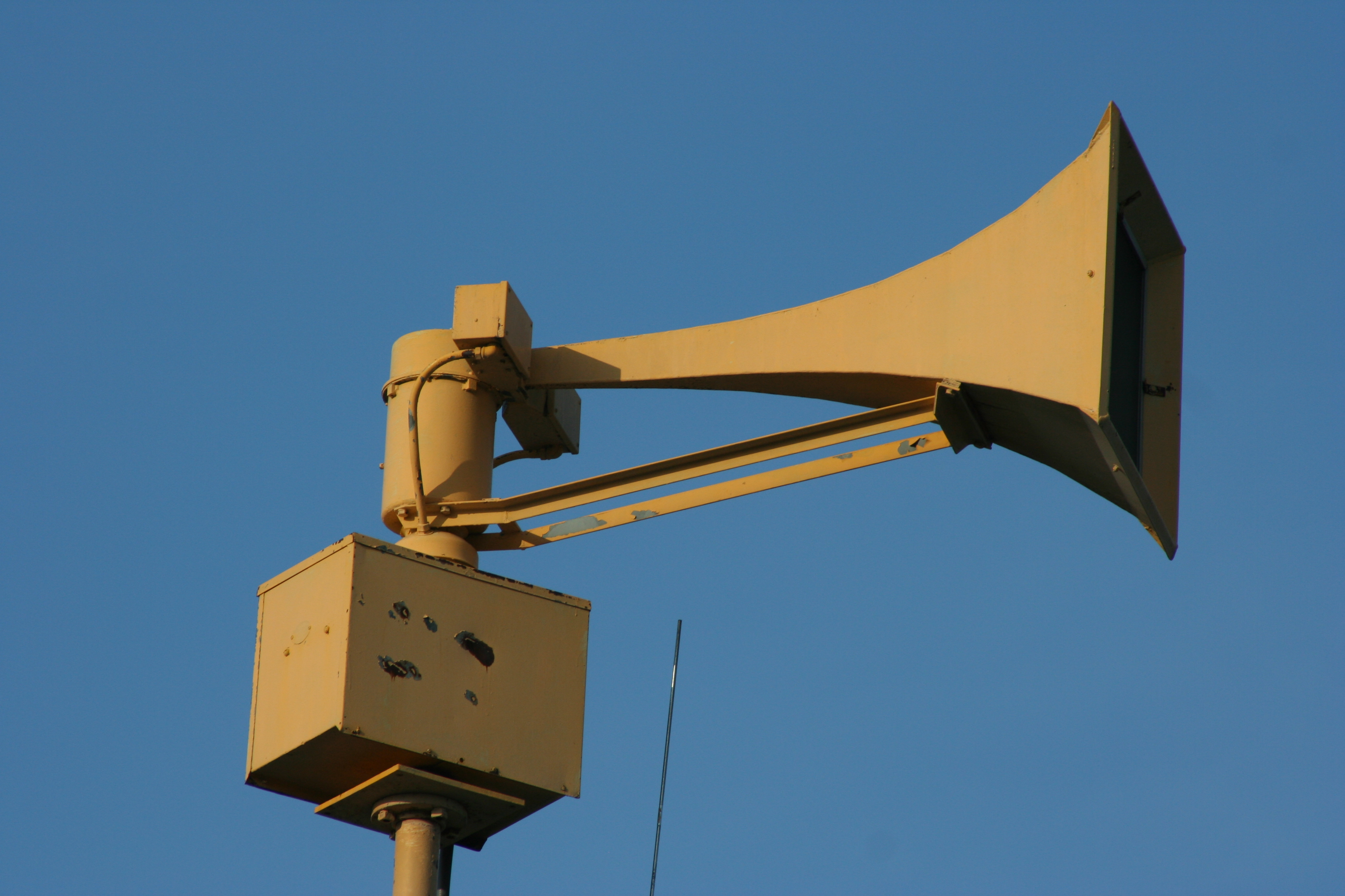 Civil defense siren on federal signal fire alarm