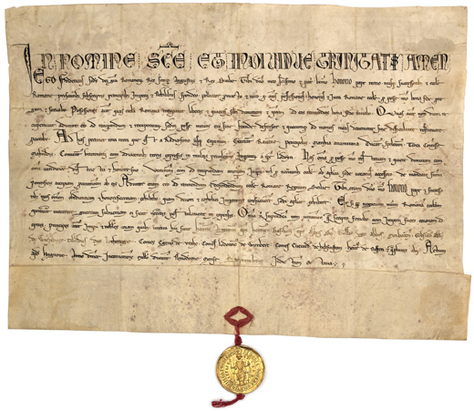 A document from the Secret Archives recording an oath sworn to Pope Honorius III by Frederick II in Haguenau, September 1219. This is an example of how medieval handwriting can be difficult to read, both for modern readers and for text-recognition software. Frederick II swear an oath to pope honorius III in haguenau september 1219 (parchment from the vatican secret archives - recto).jpg