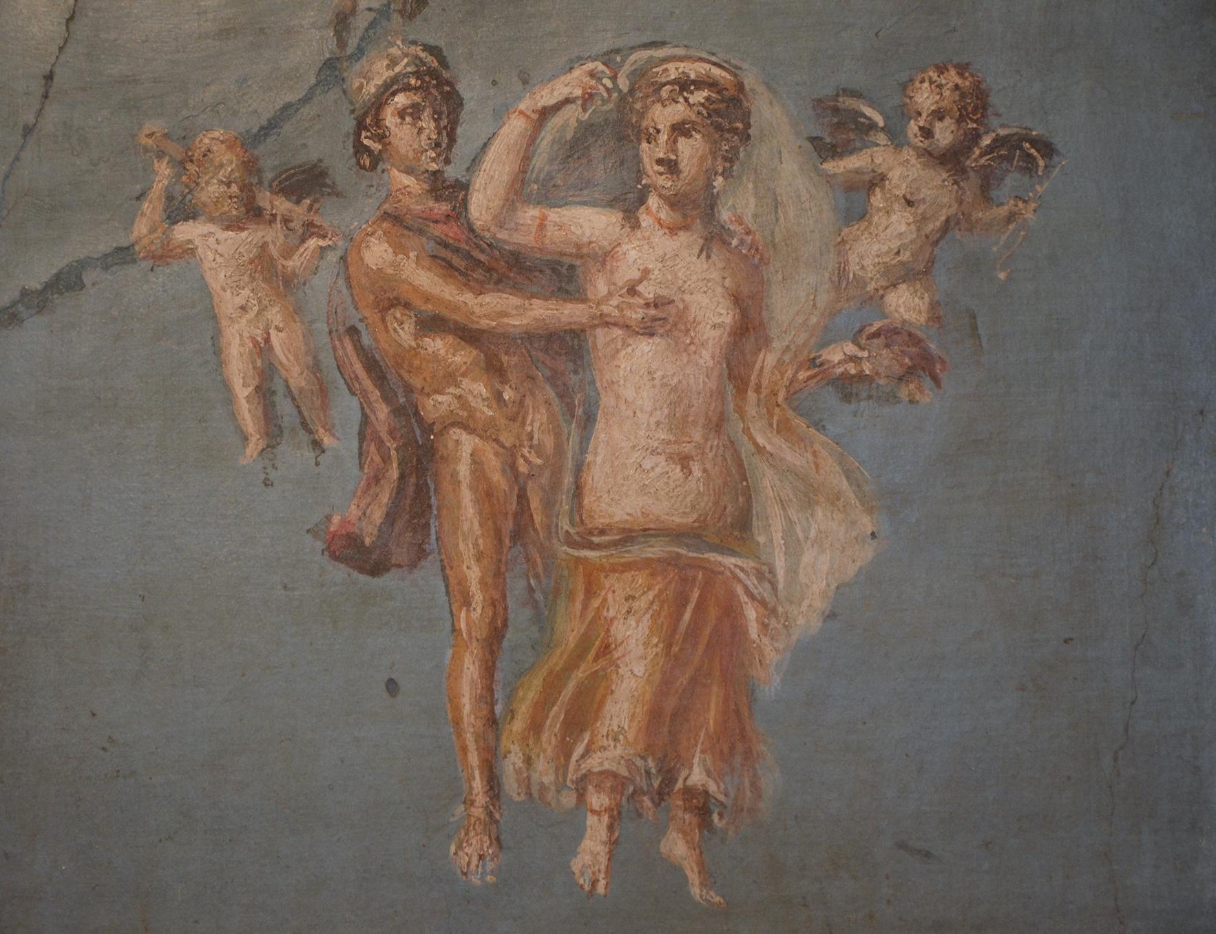 Filefresco in the fourth pompeian style depicting mars and venus filefresco in the fourth pompeian style depicting mars and venus with on a blue voltagebd Choice Image