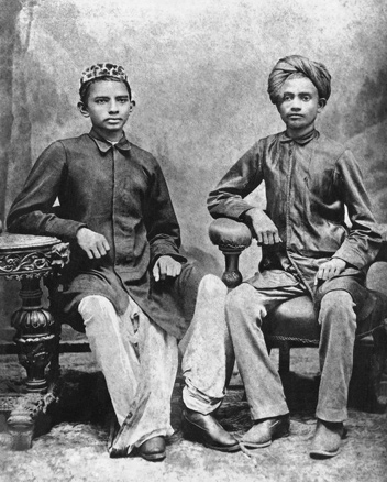 Young Mohandas Gandhi (right) and his school friend Sheikh Mehtab (left) in Rajkot.