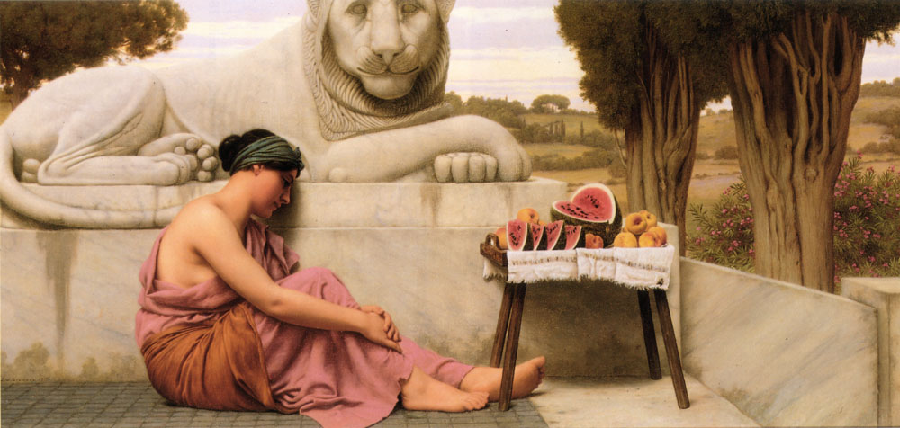 John William Godward - Page 2 Godward-The_Fruit_Vendor-1917