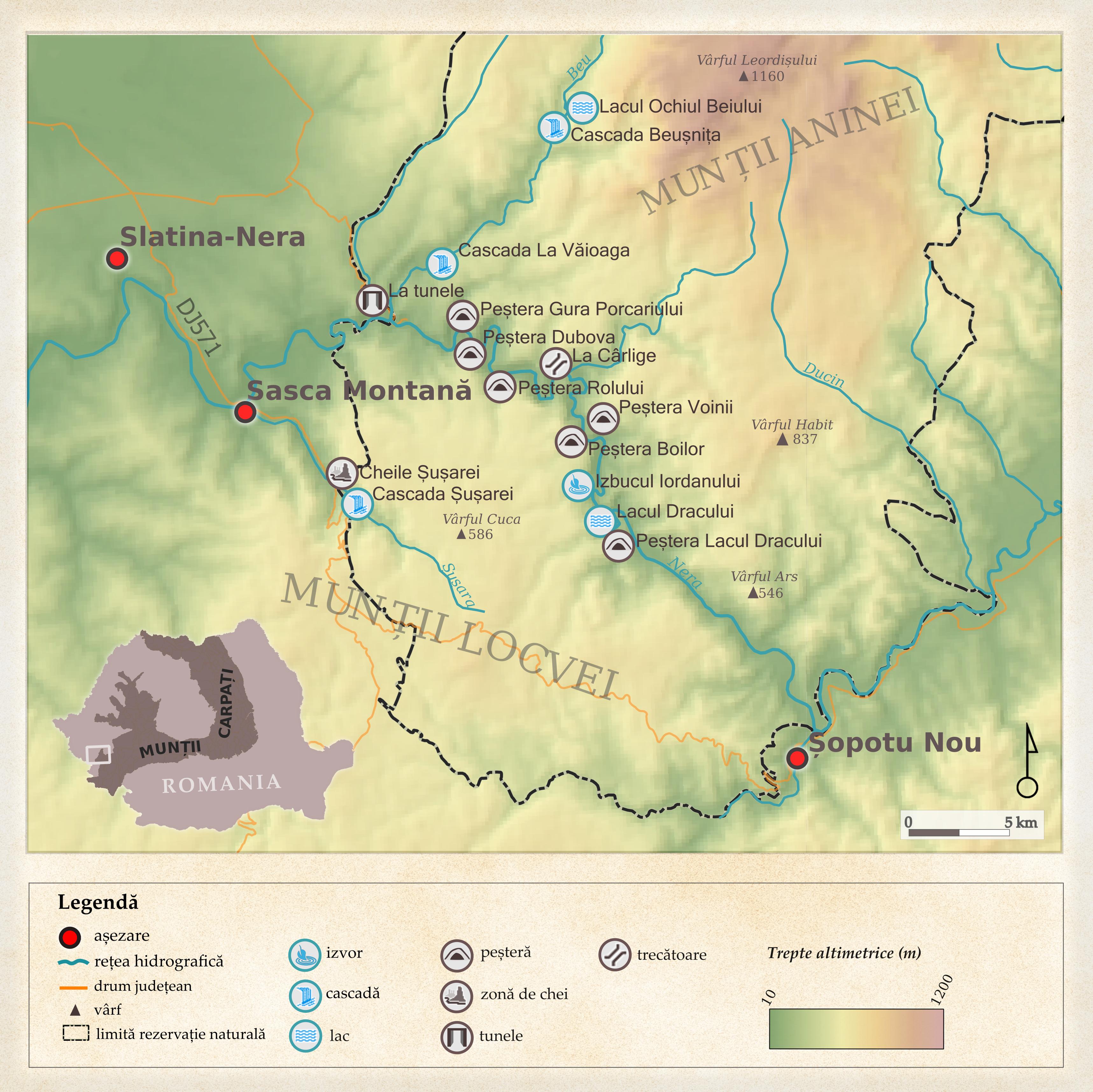Harta Obiectivelor Zona Cheile Nerei Sasca Montana