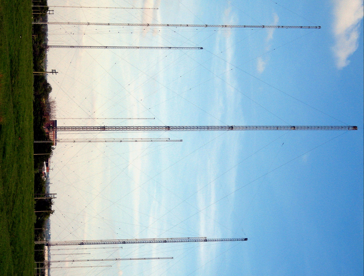 Radio masts and towers on tower radio network