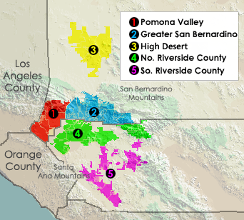 Major subregions of the Inland Empire, includi...
