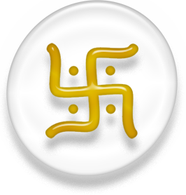 Symbol of Jainism, white and golden version.