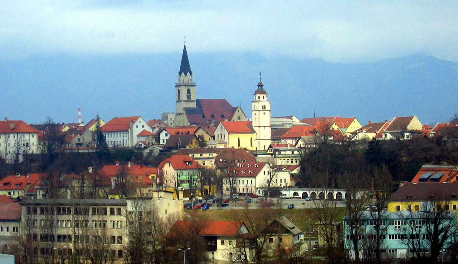 View of Kranj with St. Cantianus and Companions Parish Church (left) and Our Lady of the Rosary Church (right)