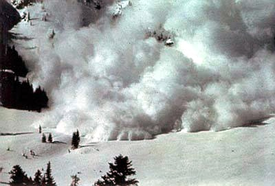 An avalanche hurtling down the mountain