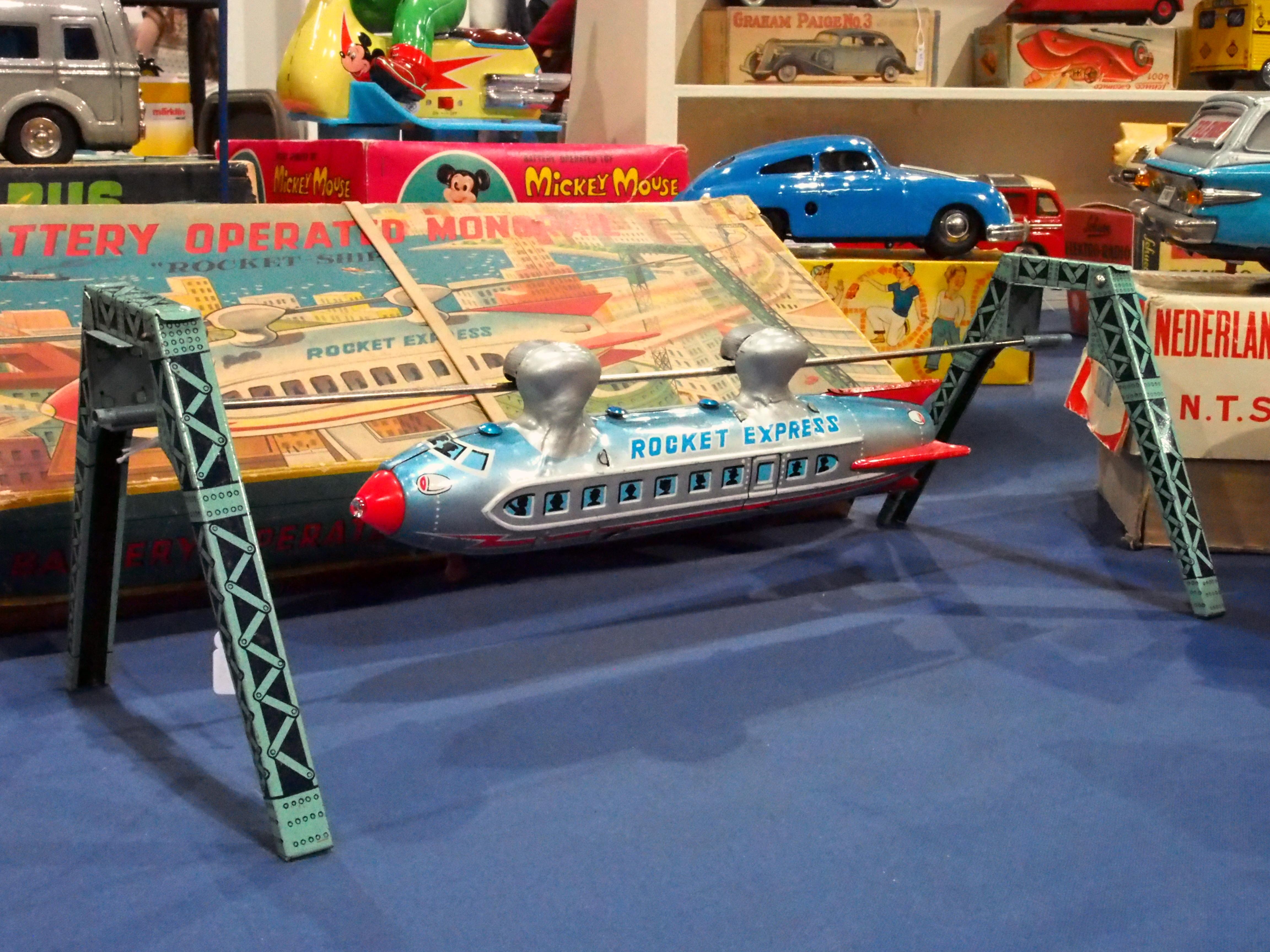 file litho tin toy monorail rocket ship linemar rocket express